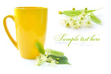 Flowers of linden tree are with the cup of tea