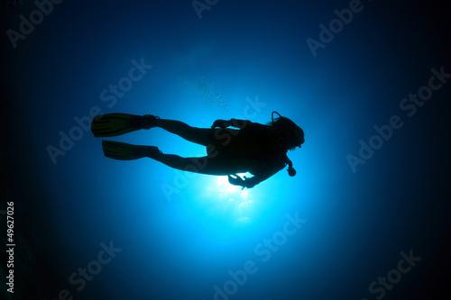 Fotobehang Duiken Taucher im Meer