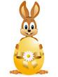 Osterhase hinter einem Ei