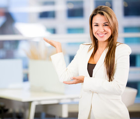 Welcoming business woman