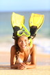 Beach holiday vacation woman snorkeling fun