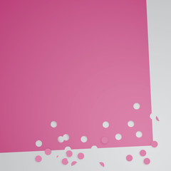 Punched holes in sheet of pink paper / Vector background