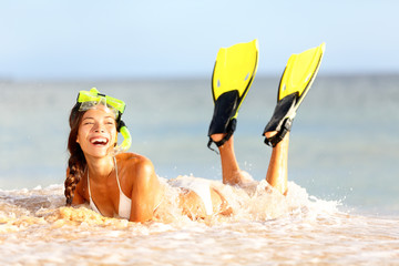 Water snorkeling fun beach woman laughing