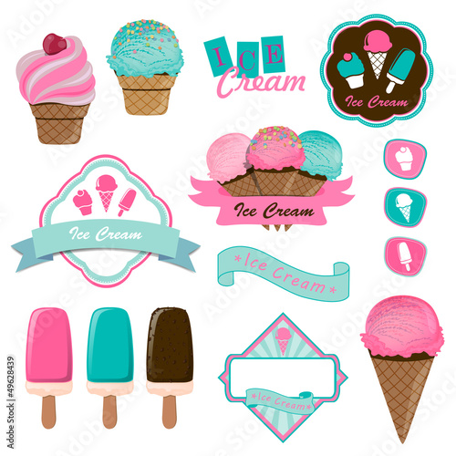 Vector Illustration of Ice Cream Logo Badges and Labels