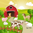 Vector Illustration of Farm Animals