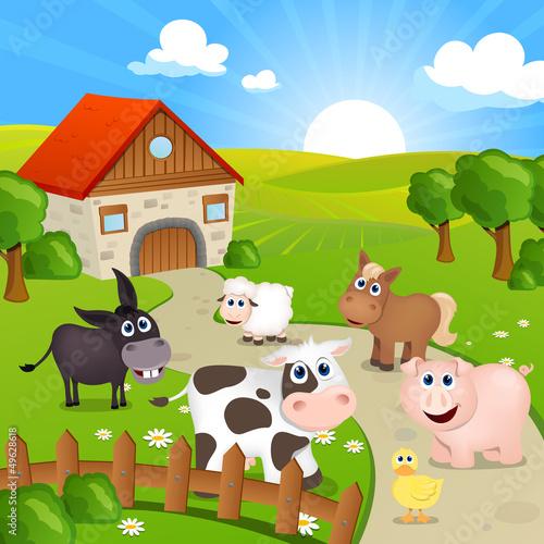 Foto op Canvas Boerderij Vector Illustration of Farm Animals