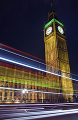 Light Trails Passing the Houses of Parliament