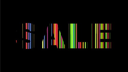 colorful sale text on black background