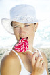 woman with sweet candy