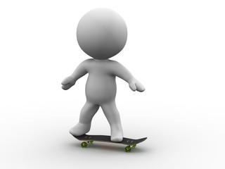 3D Man Riding a SkateBoard