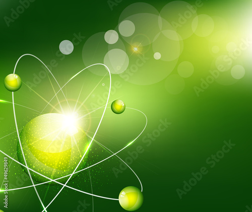 vector green  background with the atom
