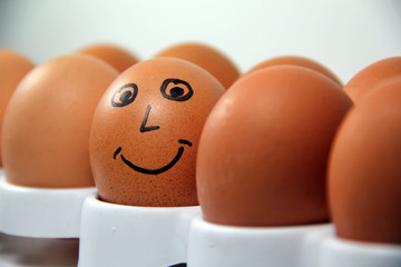 A Smile Face On The Egg Surface