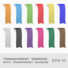 Transparent Ribbons Set 1. Tags, Bookmarks. Vector