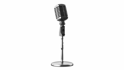 vintage microphone loop rotate on white background