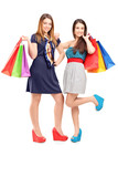 Full length portrait of two young females holding shopping bags