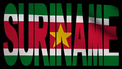 Suriname text with fluttering flag animation
