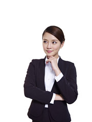 asian businesswoman thinking with hand on chin
