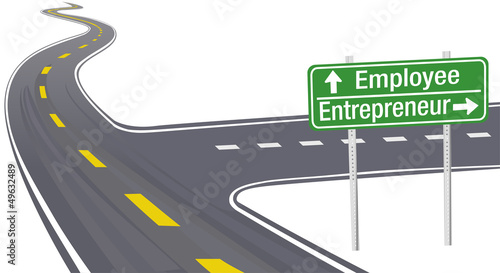 Entrepreneur Employee business decision sign
