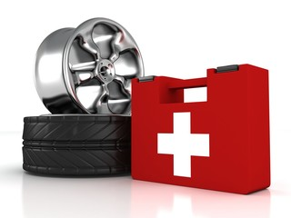 car wheels and first aid help kit