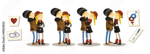 vector  loving couple in various poses