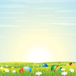 Easter Background. Eggs in Green Grass. Vector