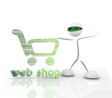 shopping webshop hologram icon with 3d character poster