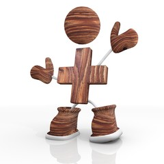 wooden cross Illustration with 3d character in wood