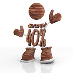 wooden -40 percent rabat 3d character Illustration