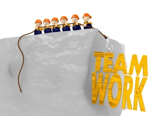 Teamwork at the construction site 3d illustration