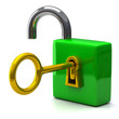 Open pad lock with key in keyhole, 3d icon