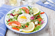Vegetable salad with poached egg, horizontal