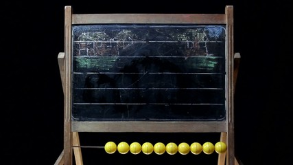drawing a sailing boat on a blackboard