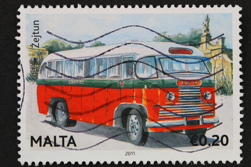 Malta - circa 2011; stamp shows traditional classic Maltese bus