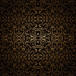 Abstract floral background, dark gold seamless pattern