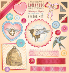 Hand Drawn Vintage Style Romantic Scrapbook Vector Set