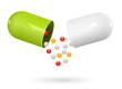 Green and white capsule pills on white. Vector Illustration