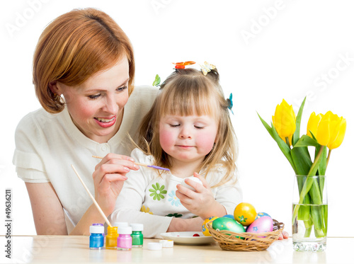 mother and daughter kid painting easter eggs isolated