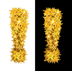 Gold shiny stars exclamation mark