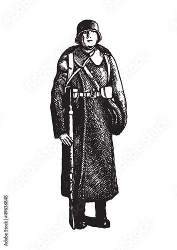 Soldier with rifle on the white background
