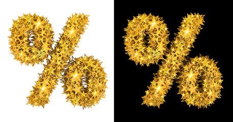 Gold shiny stars percent sign