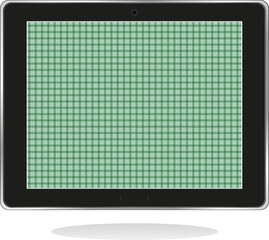 Tablet pc with green screen isolated on white background