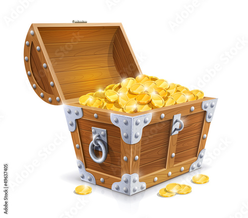 vintage wooden chest with golden coin vector illustration