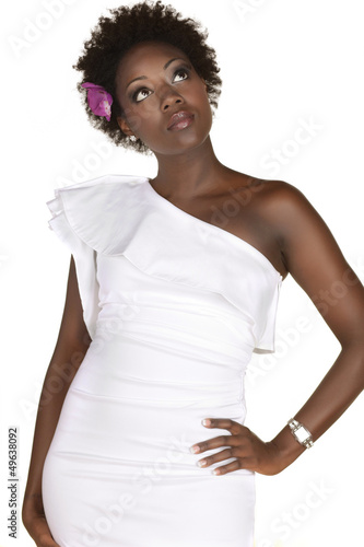 Smiling young African American bride posing in the studio