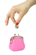 Hand throwing coin in purse