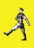 Soldier walking on the yellow background