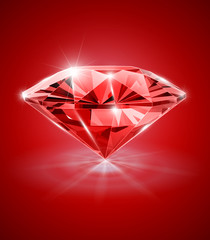 diamond on red background vector illustration EPS10.