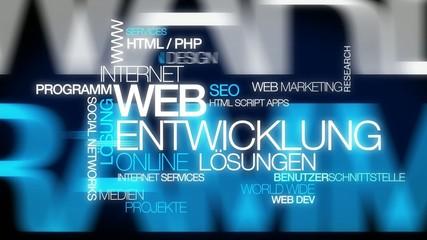 Web Entwicklung Online Lösungen Wort tag cloud Animation