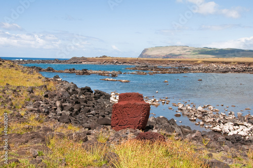 Ruins near the Pacific Ocean, Easter island (Chile)