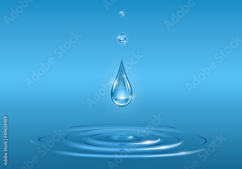 drops falling into pure water vector illustration EPS10.