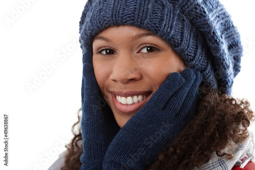 Winter portrait of attractive ethnic woman